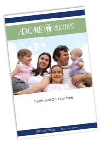 Front cover view of AdCare's outpatient addiction services handbook in Massachusetts and Rhode Island